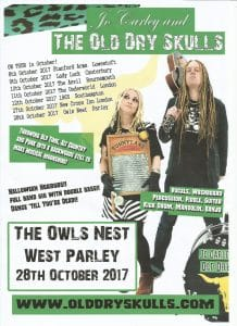 Owls Nest Live Music October 2017 Old Dry Skulls